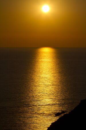 golden glow of setting sun
