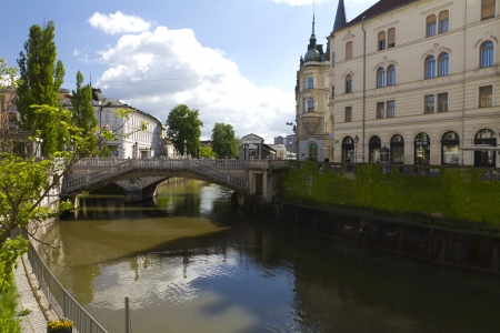 triple bridge Ljubljana by day