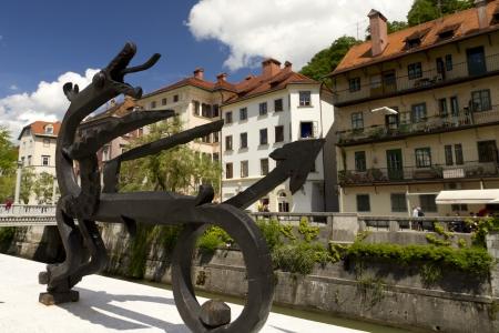 Modern statue of dragon in Ljubljana