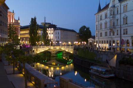 Triple bridge Ljubljana by night