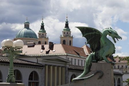 dragon ljubljana (Zmajski most) from the side Reklamní fotografie