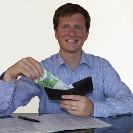 100 Euro from wallet (square) Stock Photo