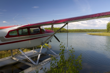 airplane on lake Stock Photo