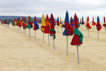 Colorful parasol on the Beach photo