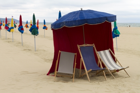 Parasol with chairs on the beach