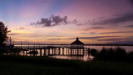 Rising sun at the pier