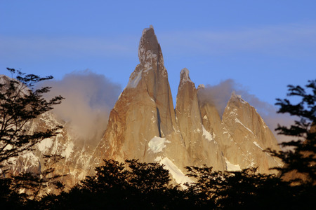 Torres del Paine with setting sun
