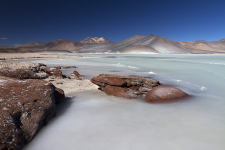 frozen lake in the andes Stock Photo
