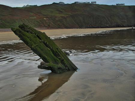 helvetia: Wreck of the Helvetia, Rhossili, Gower Stock Photo
