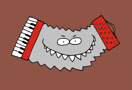 accordion: Cartoon caricature of wild funky music accordion