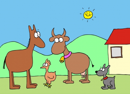 Cartoon farm house with funny cow, horse, hen and dog Vector
