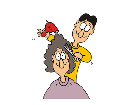 hairbrush: Cartoon man hairdresser make hairstyle to female customer