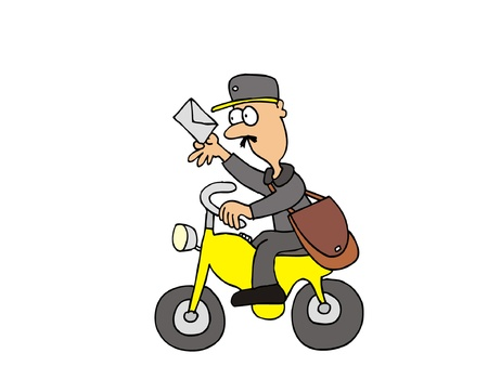 mailman: Cartoon postman on motorbike deliver a letter