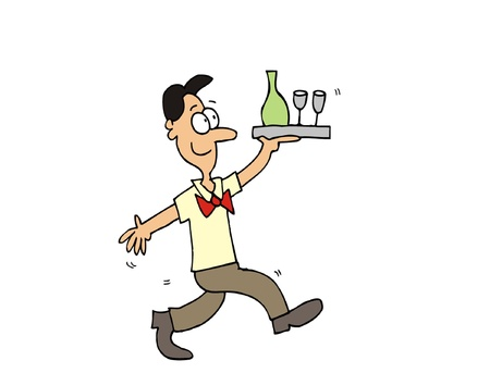 Cartoon funny waiter bring tray full of drink Vector