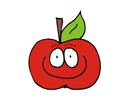 Cartoon red funny apple with carachter Stock Vector - 18296245