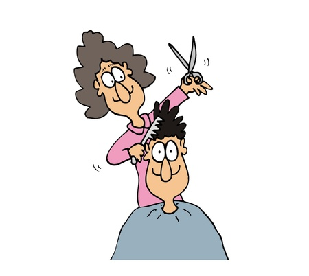 Cartoon female hairdresser make hairstyle to male customer Vector
