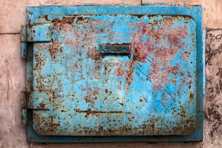 raid: Air raid shelter door with rusty surface Stock Photo