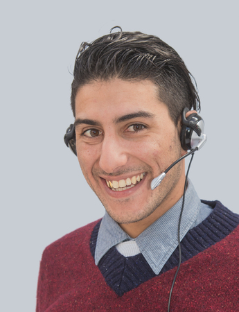 help desk: Friendly smiling help desk employee