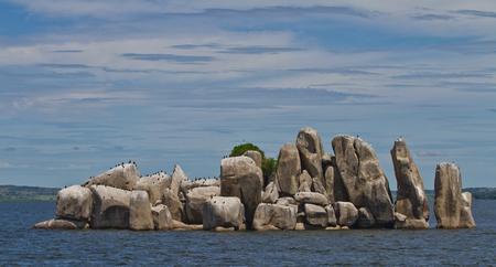 mwanza: A rocky island in Lake Victoria of the coast of Mwanza, Tanzania Stock Photo