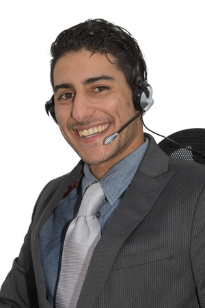 accommodating: Friendly customer employee representative with a head set