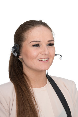 call center representative: A friendly help desk employee in conversation using a head set