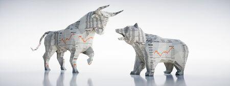 Origami-stijl stier en beer