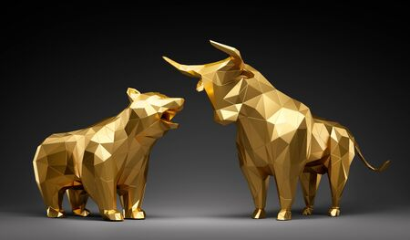 Golden bull and bear in front of dark background