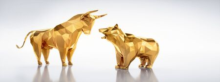 Golden bull and bear low poly style Фото со стока
