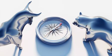 Silver bull and bear looking on compass