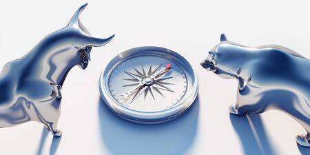 Zilveren stier en beer kijken op kompas