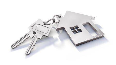 Silberne Schlüssel mit Wohnwagen auf Weiß