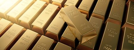 Gold bars - motif of single gold bars on group of gold bars