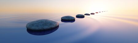 Grupo de piedras en el agua en el amplio océano
