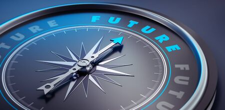 Dark compass with needle pointing to the word future