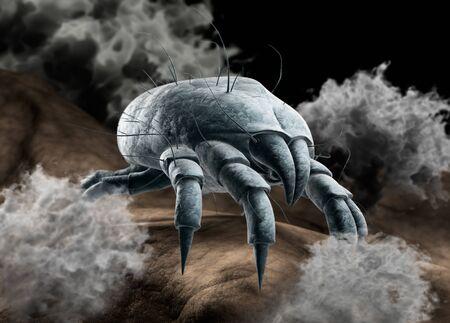 Dust mite with dust particles - 3D illustration