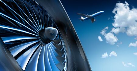 Turbine with airplane and cloudy sky Stock Photo