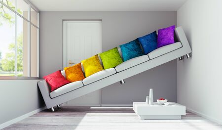 Sofa with colorful pillows in a very small room