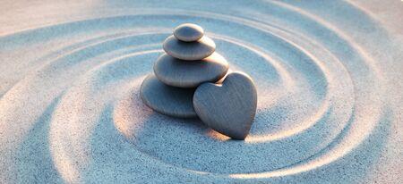 Tour de galets avec des cailloux en forme de coeur