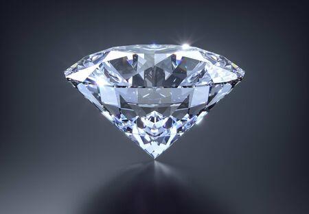 Diamant op een donkere achtergrond - 3D illustratie