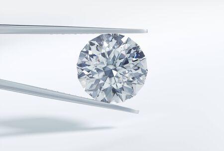 Diamond with tweezers - 3D illustration