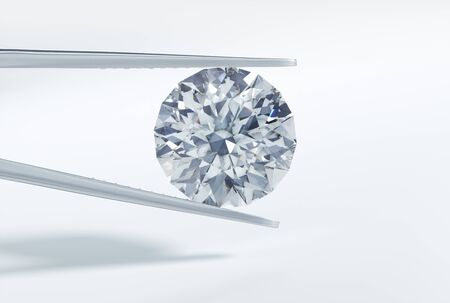 Diamond with tweezers - 3D illustration