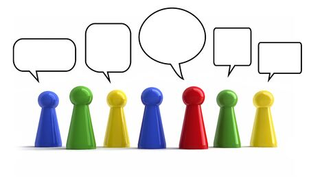 Group of colorful game figures with speech bubbles
