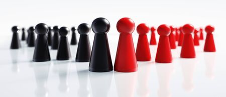 Red and black pawns on a white background