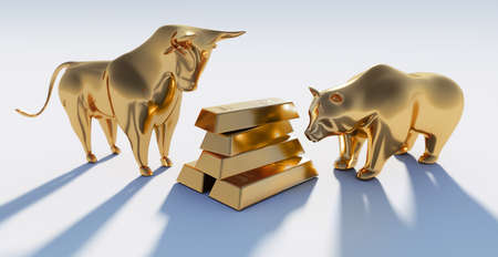 Golden bull and bear with 1000g gold bars- 3D illustration Stock Photo