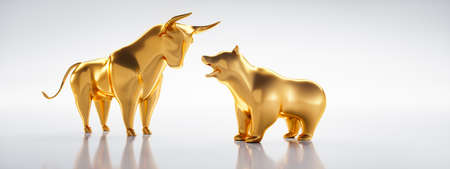 Golden bull and bear with white backdrop - 3D illustration