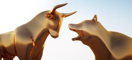 Bull and bear in bright sunlight - 3D illustration