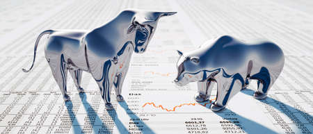 Bull and bear on a financial newspaper - 3D illustration