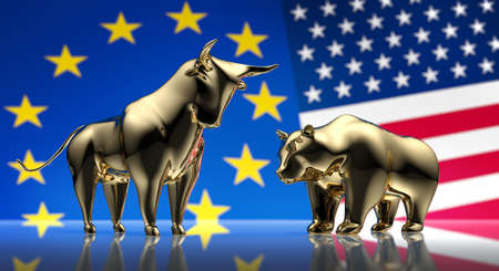 Bull and bear in front of american and european flag - 3D illustration