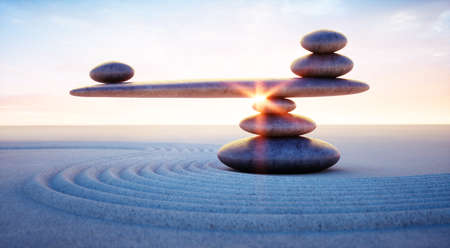 Stack of stones with seesaw at sunset sunrise - 3D illustration
