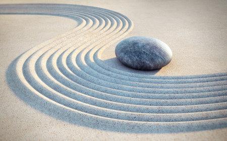 Japanese zen garden - yin yang motive - 3D illustration
